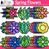 Spring Flowers Clip Art | Rainbow Floral Graphics for Seasonal Resources