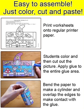Spring Math Garden Gnomes Color by Code 3D Characters - Spring Craftivity