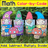 Spring Math Garden Gnomes Color by Number 3D Characters - Spring Craftivity