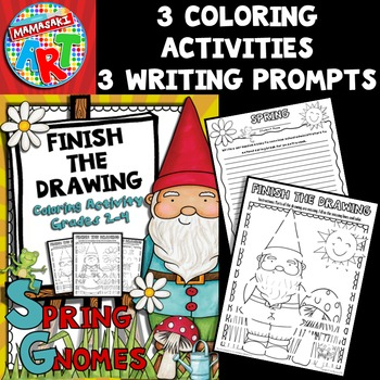Spring Gnomes Finish The Drawing Coloring Activity