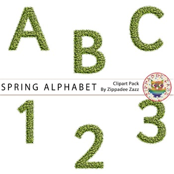 Spring / Grass Letters and Numbers - Alphabet / Number Clipart / Earth Day
