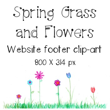 Spring Grass and Flowers Blog or Webpage Footer Colored-Pe