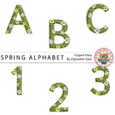 Spring Grass with Flowers Alphabet and Number Clipart #DecTpTClipLove