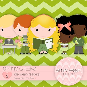 Spring Greens - Little Readers Clip Art