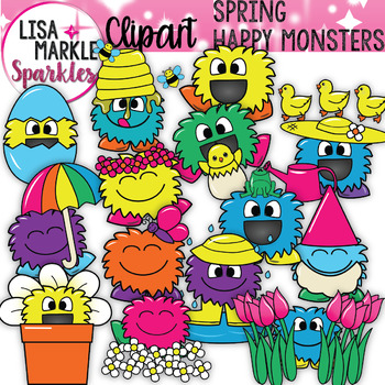 Spring Happy Monsters Clipart