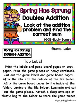 Spring Has Sprung Doubles Addition File Folder Game