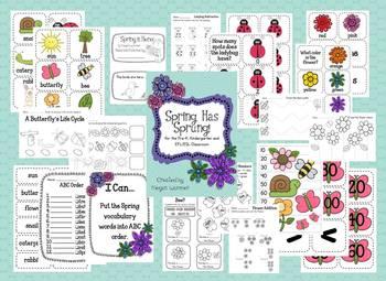 Spring Has Sprung Literacy & Math Pack for Pre-K, Kindergarten and ESL/EFL