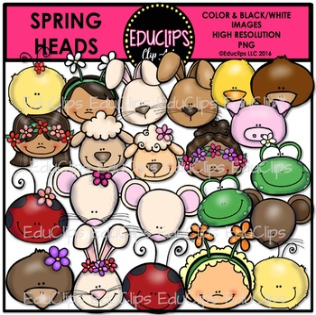 Spring Heads Clip Art Bundle {Educlips Clipart}