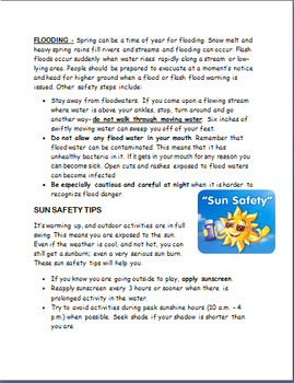 Spring Health and Safety Guidelines- lesson, 2 activities, coloring pages
