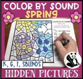 Spring Hidden Pictures Color by Sound for K, G, F, & SBLENDS