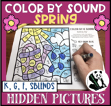 Spring Hidden Pictures Color by Sound for K, G, F, & SBLENDS
