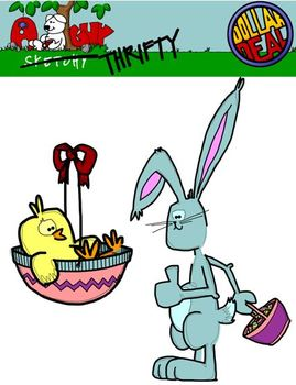 Spring Holiday / Easter Clipart Graphics 300dpi Color B &