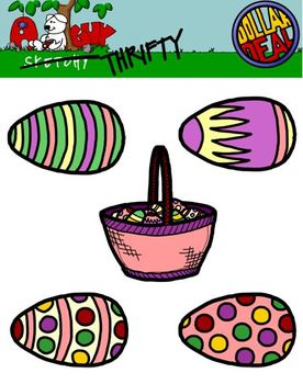Spring Holiday / Easter Egg Clipart Graphics 300dpi Color B & W Gray Transparent