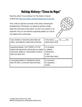 Spring Holiday Objective Summary Activities