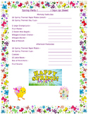 Spring Holiday Party Sign Up Sheet
