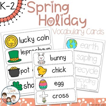 Spring Holiday Vocabulary Word Wall Cards plus Write and Wipe Version