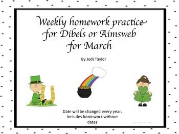 Spring  Homework BUNDLE for AIMSWEB or DIBELS