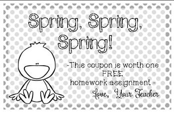 Spring Homework Pass FREEBIE