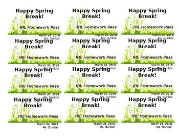 Spring Homework Pass *Free! Editable!