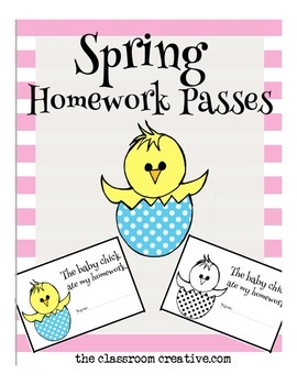 Spring Homework Passes: Baby Chick Theme