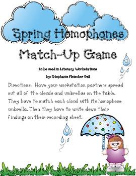 Spring Homophone Match-Up