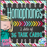Homophones: 36 Task Cards Printable & Distance Learning Versions