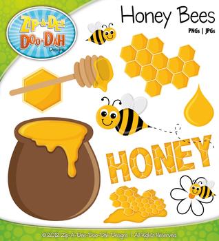 Honey Bees Clipart {Zip-A-Dee-Doo-Dah Designs}