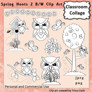 Owl Clip Art Spring Hoots 2 line drawings B/W  personal & commercial use