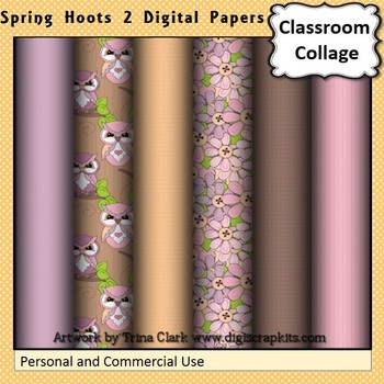 Owl Digital Papers Set - Spring Hoots 2 - Color  personal & commercial use