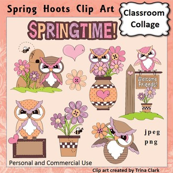 Owl Clip Art Spring Hoots  Color  personal & commercial use
