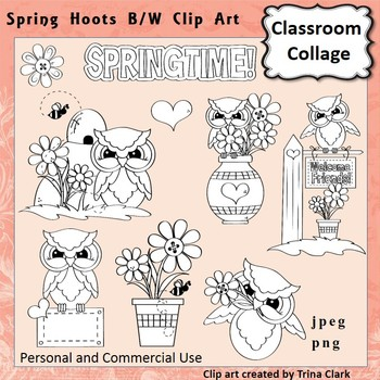 Owl Clip Art Spring Hoots line drawing B/W  personal & commercial use