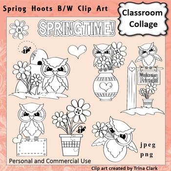 Owl Clip Art Spring Hoots line drawing B/W  personal & com