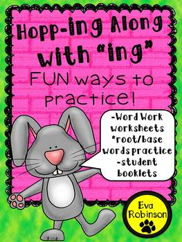 """Spring: Hopping Along with """"ing!""""  Word Work and Practice for Primary"""