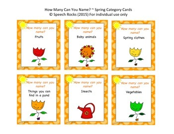 Spring ~ How Many Can You Name? Conversation & Oral Expression Cards {FREEBIE}