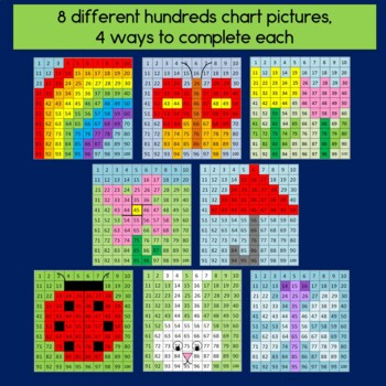Spring Hundreds Chart Mystery Pictures with Addition & Subtraction