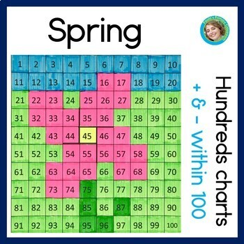 Spring Hundreds Charts with Addition & Subtraction