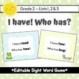 Spring - I Have! Who Has? Sight Word & Word Work Game - Editable - Grade 2