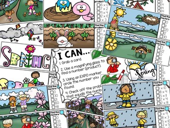 Spring I Spy Multiplication 0-12 Math Center - Products and Factors