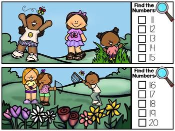Spring I Spy Numbers 1-20 - Spring Number Math Center