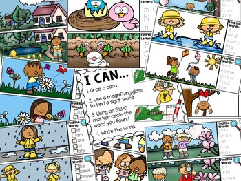 Spring I Spy Sight Words - Dolch Sight Word Literacy Center