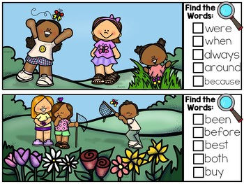 Spring I Spy Sight Words - Dolch Sight Word Literacy Center