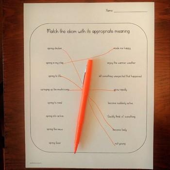 Spring Idioms for Second Grade and Up: No Color Print, NO PREP
