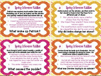 Spring Inference Riddle Task Cards { Differentiated Riddles for Inferencing }