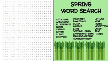 Spring Ingredient Word Search; FACS, Culinary, Bellringer