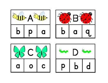 Spring Insect Alphabet Clip cards