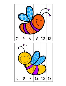 spring insects skip counting puzzles first grade freebie tpt. Black Bedroom Furniture Sets. Home Design Ideas