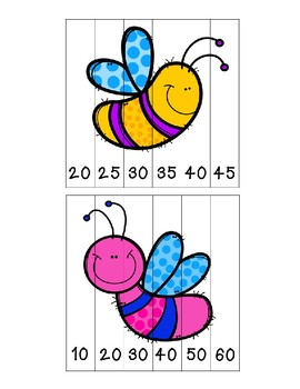 Spring Insects Skip Counting Puzzles - First Grade {FREEBIE!}