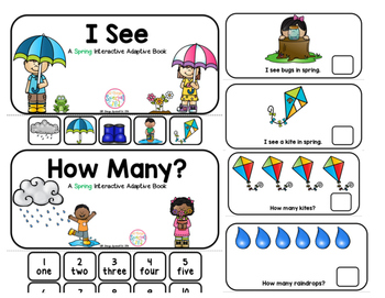 """Spring Interactive Adaptive books - set of 2 (""""I See and """"How Many?)"""