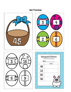 Spring Into Factors Bulletin Board Set.  Math Spring Multiplication Eggs Easter