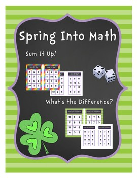 Spring Into Math Addition and Subtraction Board Game: St. Patrick's Edition